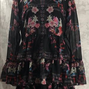 Multi color flower print dress